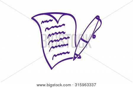 Written Paper Sheet With Pen Hand Drawn Vector Icon. Curved Corner Page. Contract, Letter, Creative