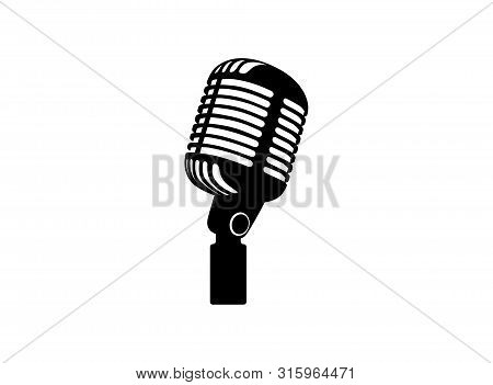 Retro Vintage Microphone Vector On White Background. Mic Silhouette. Music, Voice, Record Icon. Reco