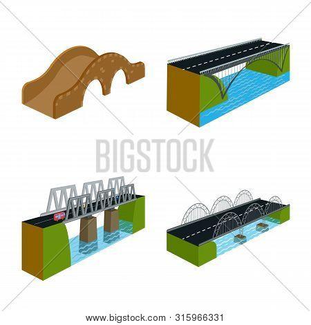 Vector Design Of Bridgework And Architecture Sign. Set Of Bridgework And Structure Stock Vector Illu