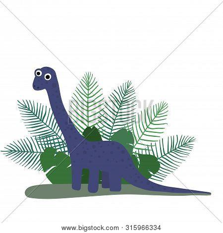 Cute, Cartoon Dinosaur Brachiosaurus On The Background Of Bushes Of Tropical Palm Leaves. Vector Ill