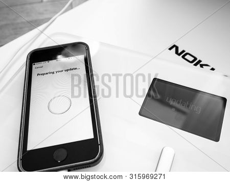 Paris, France - Sep 7, 2018: Unboxing And First Setup Process Of New Nokia Withings Body Cardio Smar