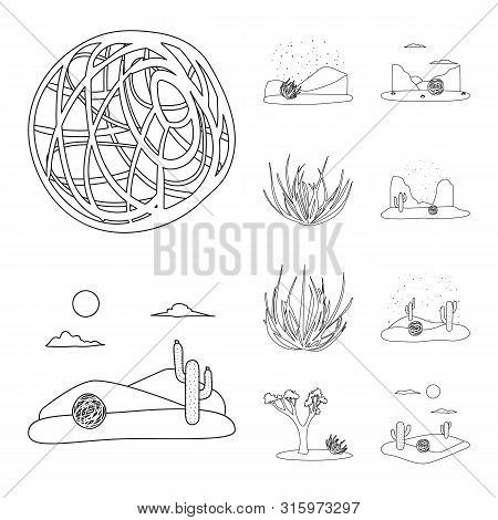 Isolated Object Of Wilderness And Texas Logo. Set Of Wilderness And Pasture Vector Icon For Stock.