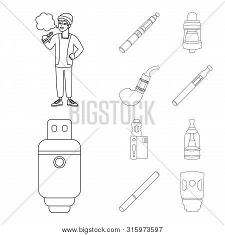 Vector Illustration Of Nicotine And Filter Sign. Collection Of Nicotine And Pipe Stock Symbol For We