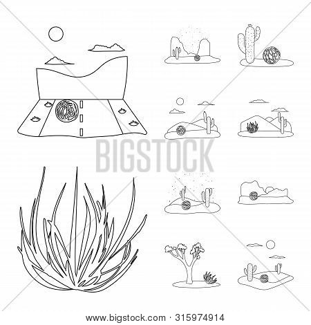 Isolated Object Of Wilderness And Texas Symbol. Set Of Wilderness And Pasture Stock Symbol For Web.