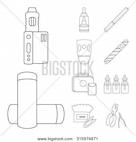 Isolated Object Of Nicotine And Filter Sign. Collection Of Nicotine And Pipe Vector Icon For Stock.