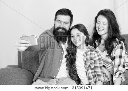 Family Spend Weekend Together. Use Smartphone For Selfie. Friendly Family Having Fun Together. Mom D