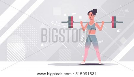 Sporty Girl Lifting Weights Doing Squats With Barbell Attractive Woman Training Workout Healthy Life