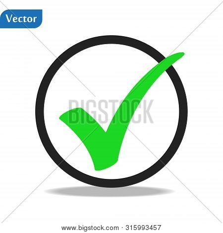 Gree Check Mark Icon In A Circle. Tick Symbol In Black Color, Vector Illustration. Eps10