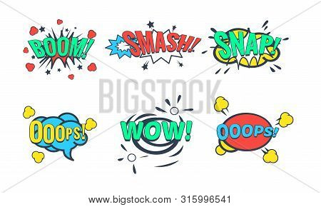 Comic Speech Bubble With Text Set, Comic Sound Effects, Wow, Boom, Snap, Smash Vector Illustration