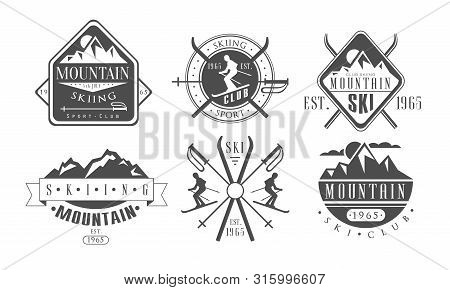 Mountain Skiing Retro Logo Templates Set, Skiing Sport Club Vintage Monochrome Labels Vector Illustr