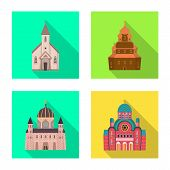 Isolated object of cult and temple icon. Set of cult and parish stock vector illustration. poster