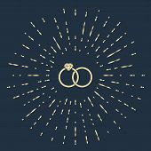 Beige Wedding rings icon isolated on dark blue background. Bride and groom jewelery sign. Marriage icon. Diamond ring. Abstract circle random dots. Vector Illustration poster