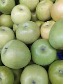 Granny smith green apples. Raw fruit background. Top view. Close-up. poster