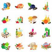 Foodstuff icons set. Isometric set of 16 foodstuff icons for web isolated on white background poster
