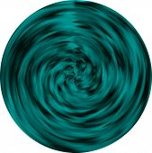 A vector circular teal stained glass element, abstract or blur background on white. poster