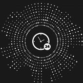 White Clock 24 hours icon isolated on grey background. All day cyclic icon. 24 hours service symbol. Abstract circle random dots. Vector Illustration poster