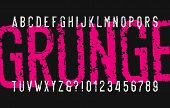 Grunge alphabet font. Distressed messy letters and numbers. Vector typescript for your typography design. poster
