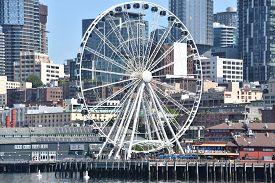 Seattle, Wa - Jul 15: View Of The Seattle Great Wheel At Pier 57 In Seattle, Washington, On July 15,