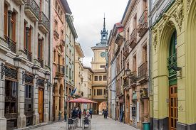 Oviedo,spain - May 16,2019 - In The Streets Of Oviedo. Oviedo Is Located In The Centre Of Asturias B