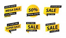Sale Tags Collection. Special Offer, Big Sale, Discount, Best Price, Mega Sale Banner Set. Shop Or O