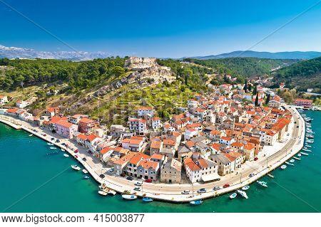 Novigrad Dalmatinski Bay Panoramic Aerial View, Dalmatia Archipelago Of Croatia