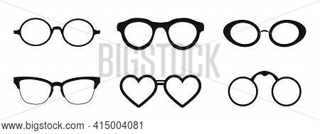 Black Glasses Rim. Eyeglasses And Sunglasses Collection Vector Illustration. Vintage, Classic And Mo