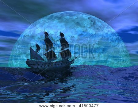 Flying Dutchman Boat By Night - 3D Render