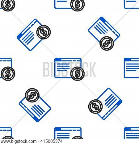 Line Online Shopping On Screen Icon Isolated Seamless Pattern On White Background. Concept E-commerc