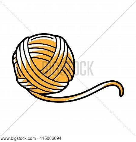 Illustration Of Yellow Ball Of Wool. Cartoon Icon.