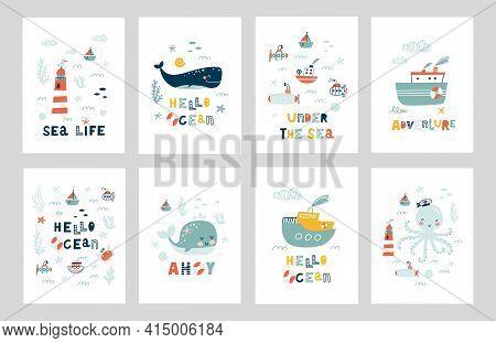 Marine Animals Posters Set. Undersea World Inhabitants.  Under The Sea. Оctopus, Whale, Fish, Crab,