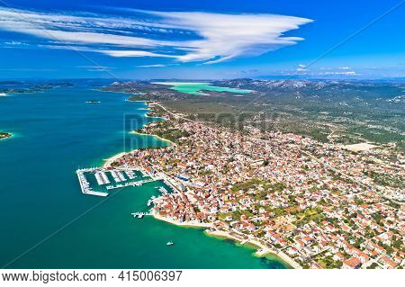 Adriatic Town Of Pirovac Panoramic Aerial View, Dalmatia Region Of Croatia