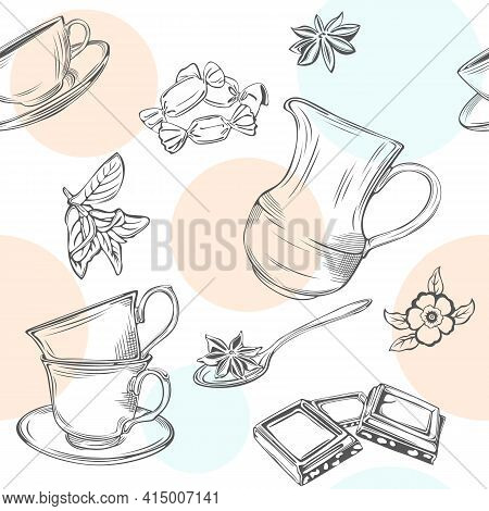 Seamless Background With Creamer, Cup With Teaspoon, Slices Of Chocolate, Mint And Anise In Vintage