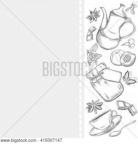 Set Of Dishes With Teapot, Cup And Saucer, Teaspoon And Fruits, Anise And Mint, Jar Jam And Slices C