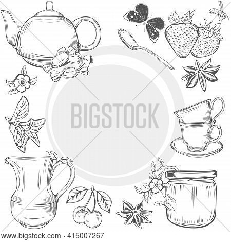 Set Of Dishes With Teapot, Cups And Creamer, Teaspoon And Fruits, Anise And Mint, Jar Jam And Candie