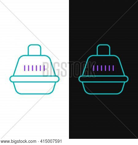 Line Pet Carry Case Icon Isolated On White And Black Background. Carrier For Animals, Dog And Cat. C