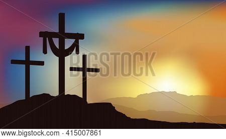 Three Crosses For Crucifixion Stand On Mount Golgotha Against The Background Of Sunrise