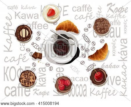 A Cup Of Black Coffee On A Saucer. The Cup Is Located On A White Background With The Words Coffee An