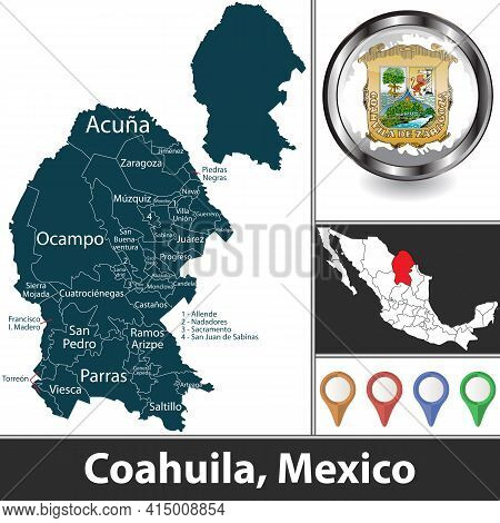 State Of Coahuila With Municipalities And Location On Mexican Map. Vector Image