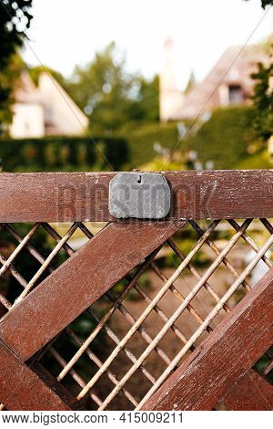 Fence Of Private House With Empty Badge Or Tag. Privacy Concept. Private Property. High Quality Phot
