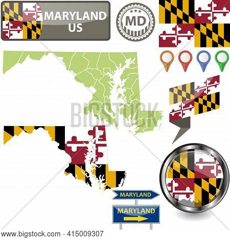 Map Of Maryland State, Us With Flag And Counties. Vector Image