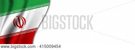 Iran Flag On White Background. White Background With Place For Text Near The Flag Of Iran.