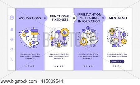 Problem Solving Obstacles Onboarding Vector Template. Responsive Mobile Website With Icons. Web Page