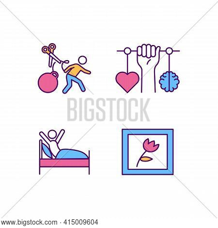 Self-improvement Rgb Color Icons Set. Personal Motivation For Individual Development. Healthy Habits