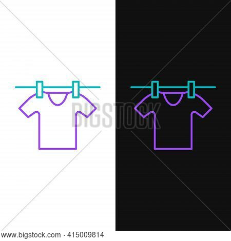 Line Drying Clothes Icon Isolated On White And Black Background. Clean Shirt. Wash Clothes On A Rope
