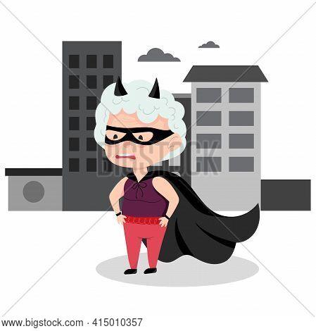 Grandma In A Superhero Costume. Active Grandmother, Funny Character. Vector Illustration In Cartoon
