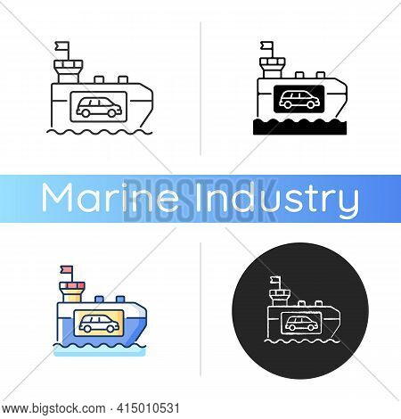 Vehicle Carrier Ship Icon. Car Shipping Service. Wheeled Cargo Transportation. Ro-ro Ships. Carrying