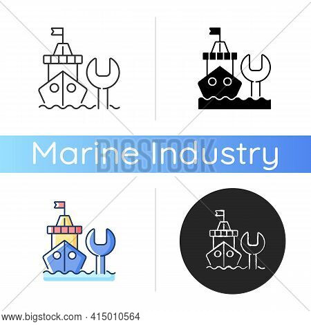 Ship Maintenance And Repair Icon. Repairing Floating Vessels. Naval Engineering. Keeping Mechanical