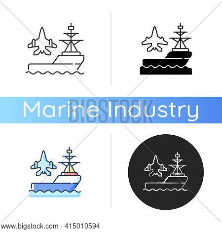 Aircraft Carrier Icon. Seagoing Airbase. Place For Aircraft Launching And Landing. Naval Vessel. War