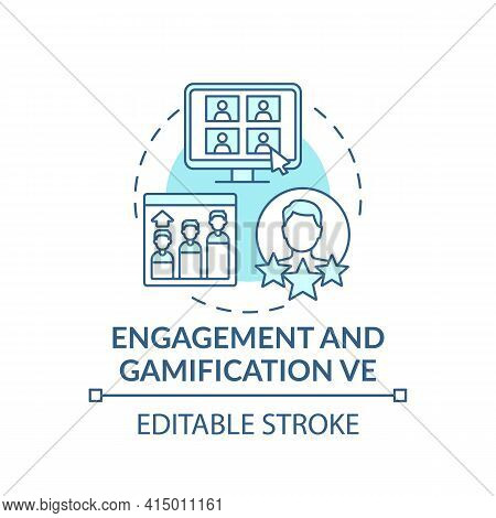 Engagement And Gamification Ve Concept Icon. Virtual Events Type Idea Thin Line Illustration. Engagi