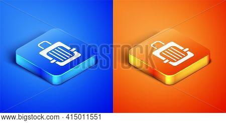 Isometric Pet Carry Case Icon Isolated On Blue And Orange Background. Carrier For Animals, Dog And C